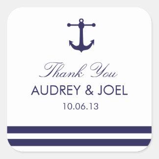 Pegatinas náuticos del favor del boda de la marina calcomanías cuadradass personalizadas
