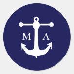 Pegatinas náuticos del monograma de la marina de etiquetas redondas