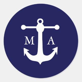 Pegatinas náuticos del monograma de la marina de pegatina redonda