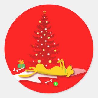 Pegatinas - navidad amarillo del perro del pegatina redonda