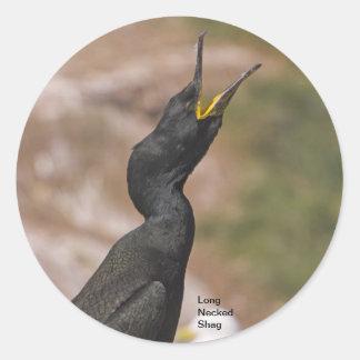 Pegatinas Necked largos del pájaro de la pelusa Pegatina Redonda