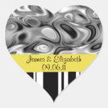 Pegatinas negros, blancos y amarillos del boda calcomanías de corazones