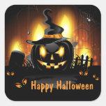 Pegatinas negros de Halloween de la calabaza Calcomanía Cuadradas Personalizada
