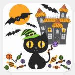 Pegatinas negros de Halloween del gatito Pegatina Cuadrada