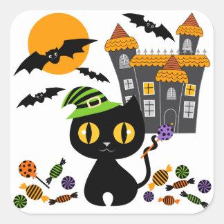Pegatinas negros de Halloween del gatito Pegatina Cuadradas Personalizada