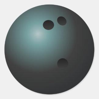 Pegatinas negros de la bola de bolos pegatina redonda