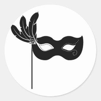 Pegatinas negros de la máscara del Harlequin Pegatina Redonda