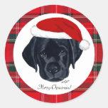 Pegatinas negros de Santa del navidad del perrito Pegatina Redonda