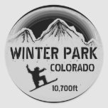 Pegatinas negros del arte de la snowboard de pegatinas redondas