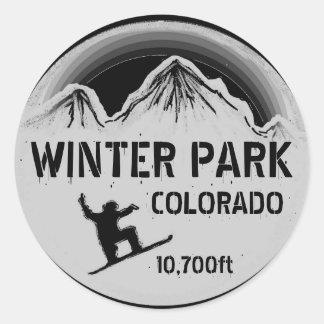 Pegatinas negros del arte de la snowboard de pegatina redonda