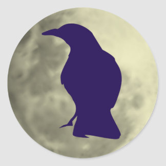 Pegatinas negros del cuervo etiqueta redonda