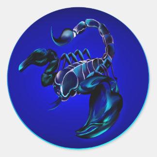 Pegatinas negros del escorpión pegatina redonda