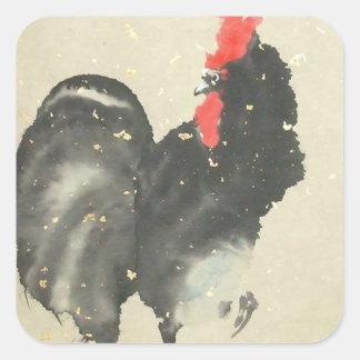 Pegatinas negros del gallo calcomanías cuadradass