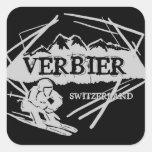 Pegatinas negros del logotipo del esquí de Verbier Colcomanias Cuadradas