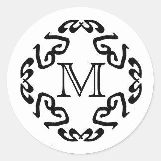 Pegatinas negros del monograma del modelo de pegatinas redondas