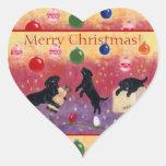 Pegatinas negros del navidad del labrador pegatina en forma de corazón