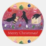 Pegatinas negros del navidad del labrador pegatina redonda