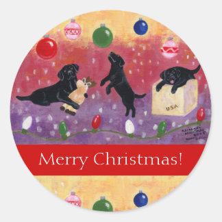 Pegatinas negros del navidad del labrador retrieve
