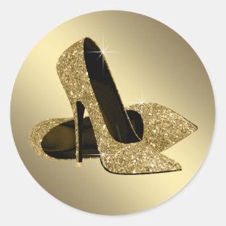 Pegatinas negros del zapato del tacón alto del oro pegatina redonda