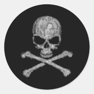 Pegatinas negros frescos del cráneo y de la pegatina redonda