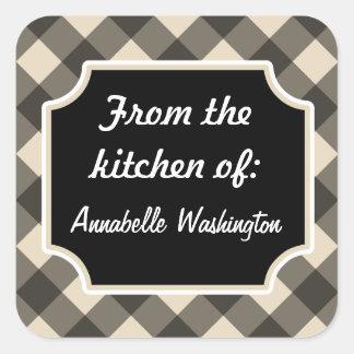 Pegatinas negros personalizados de la cocina pegatina cuadrada