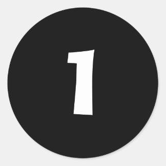 Pegatinas negros redondos de un pequeños número pegatina redonda
