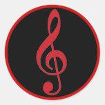 Pegatinas negros rojos de la música del clef agudo