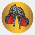 Pegatinas negros rojos del zapato del tacón alto etiqueta redonda