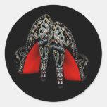 Pegatinas negros rojos del zapato del tacón alto pegatinas redondas
