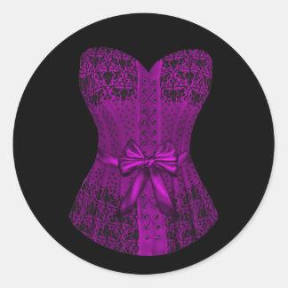 Pegatinas negros y púrpuras elegantes del corsé pegatina redonda
