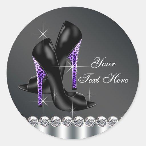 Pegatinas negros y púrpuras elegantes del zapato etiqueta redonda