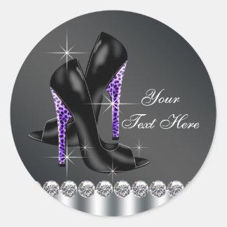 Pegatinas negros y púrpuras elegantes del zapato pegatina redonda