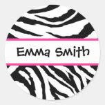 Pegatinas negros y rosados personalizados de la etiqueta redonda