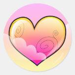 Pegatinas nublados del corazón (versión pegatina redonda