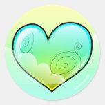 Pegatinas nublados del corazón (versión verde) etiquetas redondas