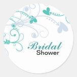 Pegatinas nupciales elegantes de la ducha etiqueta redonda