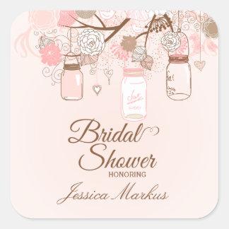 Pegatinas nupciales florales rosados elegantes de colcomanias cuadradases