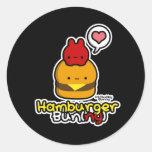 Pegatinas (ny) del bollo de hamburguesa (negro)