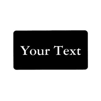 Pegatinas o etiquetas negros y blancos con el text etiquetas de dirección