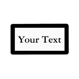 Pegatinas o etiquetas negros y blancos con el text etiqueta de dirección