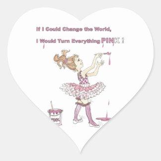 Pegatinas o etiquetas rosados del lollipop pegatina en forma de corazón