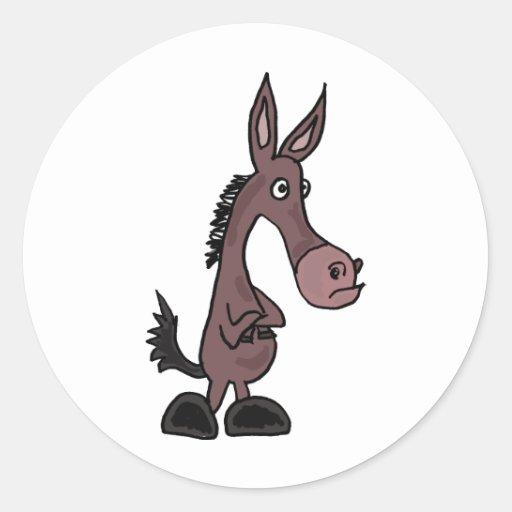 Pegatinas obstinados de la mula o del burro pegatina redonda