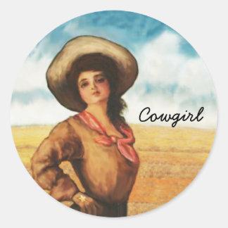 Pegatinas occidentales de la mujer de la vaquera etiqueta redonda