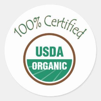 Pegatinas orgánicos certificados el 100% del USDA Pegatina Redonda