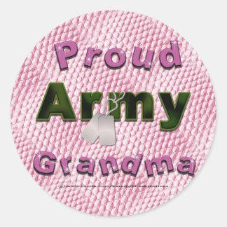 Pegatinas orgullosos de la abuela del ejército pegatina redonda