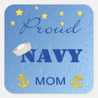 Pegatinas orgullosos de la mamá de la marina de pegatina cuadrada