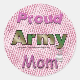 Pegatinas orgullosos de la mamá del ejército pegatina redonda