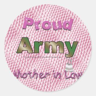 Pegatinas orgullosos de la suegra del ejército pegatina redonda