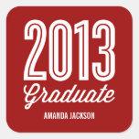 Pegatinas orgullosos del favor de la graduación pegatinas cuadradases personalizadas