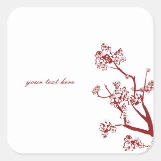 Pegatinas orientales del boda de la flor de cerezo pegatina cuadrada